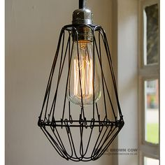 Industrial look large black wire cage light shade