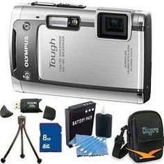 "Olympus Tough TG-610 14MP Waterproof Shockproof Freezeproof Digital Camera (Silver) w/ 3.0"" LCD, 5x Zoom, 720p HD Video, 3D Mode, and more. Kit Includes 8 GB Memory Card, Deluxe Carrying Case, Li-ion Battery, Tripod, Card Reader, and Lens Cleaning Kit. by Olympus. $179.00. WATERPROOF A revolutionary system of waterproof seals and gaskets keeps water out so you can take pictures as deep as 16 feet underwater. SHOCKPROOF Durable body with an innovative shock-absorbing technology p..."