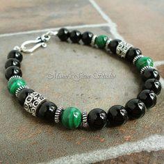 Black and Green Stone Bracelet for Men, Malachite, Black Onyx, Handmade Mens Jewelry. $32.95, via Etsy.