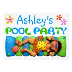 Custom Cool Pool Party Custom Announcement created by AmyVangsgard. This invitation design is available on many paper types and is completely custom printed. Pool Party Themes, Pool Party Kids, Party Ideas, Pool Party Birthday Invitations, Birthday Party Themes, Birthday Ideas, Invitation Paper, Invite, Under The Sea Party
