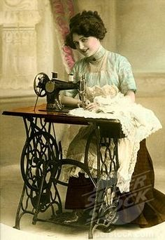 ❤✄◡ً✄❤  Antique painted picture of lady at sewing machine!