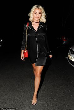 Chloe... Is that you? Chloe Sims seemed to do a U-turn with her usual clothes choices as she stepped out in a relatively modest pyjama-style dress for a night out at Essex hotspot Sheesh Chigwell on Wednesday