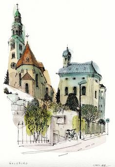 New vintage drawing sketches ray bans Ideas Pen And Watercolor, Watercolor Landscape, Watercolor Illustration, Watercolor Paintings, Watercolours, Watercolor Architecture, Architecture Drawings, Drawing Sketches, Art Drawings