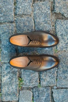 shoe with full-grain calfskin upper and leather outsole