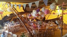 Interior of our #Papakata tipis #bunting #heartballoons #pompoms #homemade #wedding