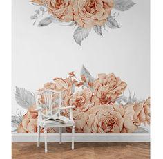 Papel pintado rosas - decoración del hogar - hecho a mano en DaWanda.es