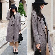 Rosa - Larmoni Tweed Coat - Grey