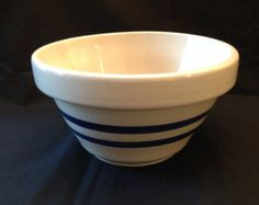 Roseville, Ohio Pottery / RRP CO Cobalt Blue Stripe Mixing Bowl
