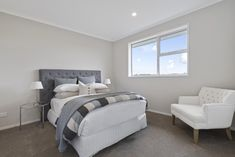 This beautiful blue upholstered headboard livens up the all-white space in our new Karaka Show Home. #showhome #karakashowhome #lachlanplan #bedroomdesign #interiordesign #generationhomesnz Home Bedroom, Bedrooms, Sales Office, Beautiful Sites, White Space, New Shows, All White, Auckland, Dreaming Of You