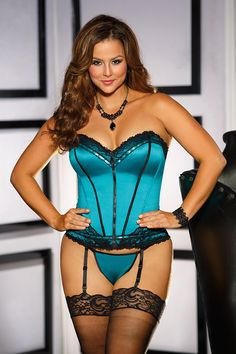 Teal Black Retro Beaded Satin Plus Size Corset #SexyClothes #SexyClothing #Adult