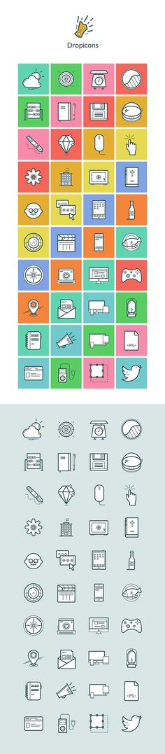 Download Dropicons – 40 Free Icons Template