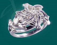 Nenya Sz 7 Lord Of The Rings HOBBIT Ring QUEEN GALADRIEL Flower Crystal #MiddleEarthJewelry #Ring