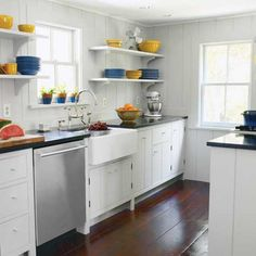 A Functional Kitchen Layout With Period Details this old house article on small kitchen design Galley Kitchen Design, Small Galley Kitchens, Small Kitchen Layouts, Galley Kitchen Remodel, Small Space Kitchen, Interior Design Kitchen, Cool Kitchens, Kitchen Remodeling, Kitchen Designs