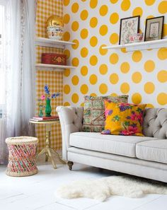 polka dots n the plaid on other wall...with that great pillow...love it