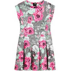 Guess Girls Grey Cotton Pleated Dress with Roses  at Childrensalon.com