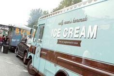 If you're starting a food truck business, consider renting or buying a used truck to save money. When you become profitable you can then consider buying or building a new truck. Molly Moon's Homemade Ice Cream food truck coordinates it's colors to match their website and the rest of their marketing materials.