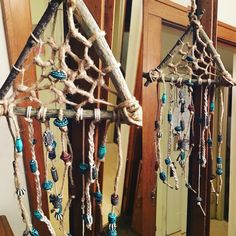Made my first DIY triangle dream catcher with string,beads, some sticks I found in my backyard, and a little hot glue!