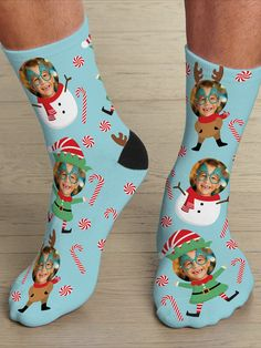 It's a reindeer, elf and snowman face-off! These whimsical socks will keep you on your toes—and smiling—all season long! These personalized socks make a great gift for dad, mom or even grandparents! Snowman Faces, Great Gifts For Dad, Face Photo, Personalized Christmas Gifts, Holiday Wishes, Feeling Special, Grandparents, Reindeer, Elf