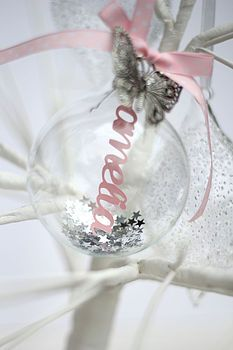 Personalised Papercut Glass Bauble - launching at the end of August from Studio Seed! #Christmas