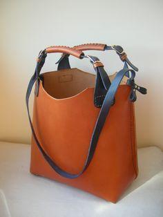 Shop bag. Tote Bag. Handcrafted Genuine Leather Shopper Bag Vintage in Retro Brown #handstitched. http://www.facebook.com/BagsOnly