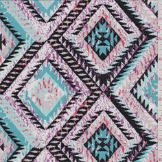 Turquoise blue,spa blue, lilac purple, coral orange, pink beige, black and white Aztec diamondprint. A lightweight cotton knit fabric with a soft feel and widthwise stretch.Compare to $12.00/yd