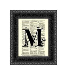 Letter M Modern Monogram on an Antique by ReImaginationPrints