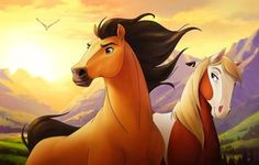 Without a spoken word, Spirit and Rain from Spirit: Stallion of the Cimarron kept audiences captivated. Spirit The Horse, Spirit And Rain, Dreamworks Movies, Disney And Dreamworks, Spirit Der Wilde Mustang, Caballo Spirit, Wilde Mustangs, Inspirational Horse Quotes, Horse Movies