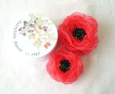 Large Coral Organza Flower  Hair Accessory by FairytaleFlower, $18.00