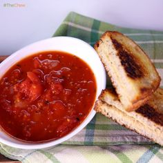 Tomato Soup & Grilled Hummus Sandwich by Mario Batali! #TheChew #MeatlessMonday