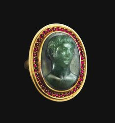 Ancient Jewels and Jewelry | Chromium chalcedony Roman cameo depicting a...