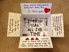 """I miss you all the time"" care package for Ted! Deployment care package or just… Military Love, Army Love, Cute Gifts, Diy Gifts, Military Deployment, Deployment Quotes, Deployment Gifts, Usmc Quotes, Quotes Quotes"