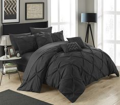 Chic Home Hannah 8 Piece Comforter Set Complete Bed In A Bag Pinch Pleated Ruffled Pintuck Bedding with Sheet Set And Decorative Pillows Shams Included Twin Black >>> See this great product.-It is an affiliate link to Amazon. #DecorativePillows
