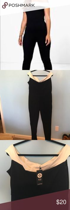 Off the shoulder jumpsuit Contrast jumpsuit. Lots of stretch. Fits like a true 16 Boohoo Plus Pants Jumpsuits & Rompers