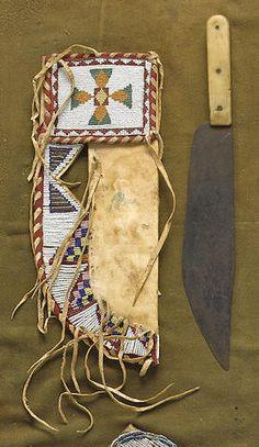 A Blackfoot beaded knife sheath