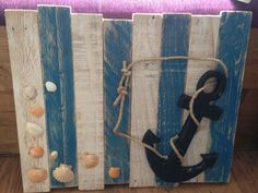rustic wooden pallet art, nautical, anchor, fishmans knot, shells, handmade in Home, Furniture & DIY, Home Decor, Wall Hangings | eBay