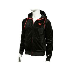 Men's Zipway Chicago Bulls Velour Full-Zip Hoodie, Size: Medium, Black