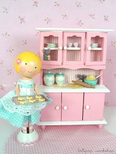 clothespin doll - how cute is that hutch!!! I want!!