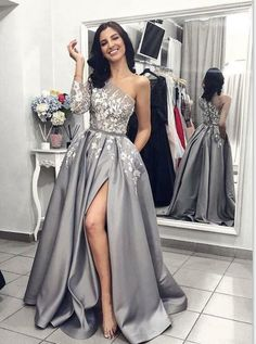 A-Line One-Shoulder Gray Sweep Train Prom Dress with Appliques affcd30ce6a9