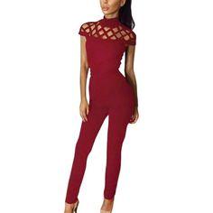 Sexy Women's Fashion Bodysuit - Sleeveless Jumpsuit - Hollow Slim Romper