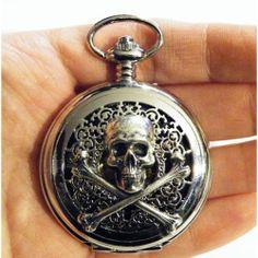 Steampunk Silver Skull and Crossbones Pocket Watch by tempusfugit, $55.00