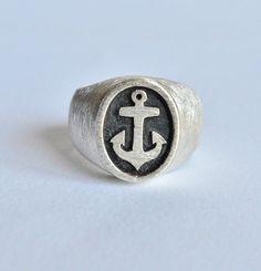 Anello ancora,anello uomo,anello argento 925,anello sigillo,anello ragazzo,anello chavalier,gioiello italiano,fatto a mano,made in Italy