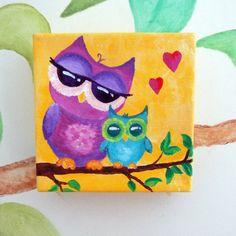 Nursery Decor MAMA LOVE OWLS 5x5 Acrylic Canvas Art for by nJoyArt, $35.00