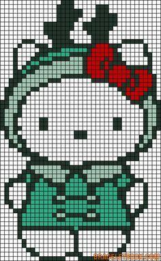 Hello Kitty perler bead pattern by Mudgey Cross Stitch Charts, Cross Stitch Designs, Cross Stitch Patterns, Pearler Bead Patterns, Perler Patterns, Cross Stitching, Cross Stitch Embroidery, Hello Kitty Christmas, Alpha Patterns