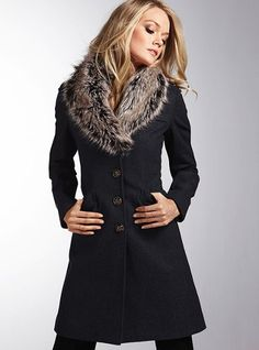 Victoria's Secret Faux Fur Collar Coat!