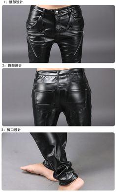 784db79b52e4 Winter Plus velvet warm men windbreaker leather pants men Slim feet black  Korean tide men s leather pants - Online Shopping in USA  Fashion
