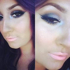 Pastel pink lips suites perfect with the shades on the both eyes...
