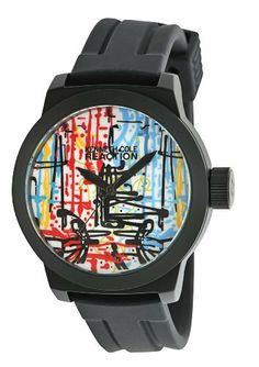 Kenneth Cole REACTION Men's RK1251 Street Collection Round Analog Custom Graphic Silicone Watch Kenneth Cole REACTION. $40.61. Solid round durable metal black ip case. Water-resistant to 99 feet (30 m). Comfortable and pliable polyurethane strap. Limited lifetime warranty. Solid dependable japanese quartz analog movement