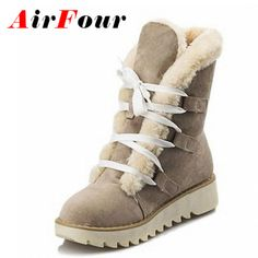 Airfour Fashion Warm Thick Fur Lace-up Winter Shoes Woman Round Toe Platform Skidproof Sole Ankle Boots Women Snow Boots #>=#>=#>=#>=#> Click on the pin to check out discount price, color, size, shipping, etc. Save and like it!