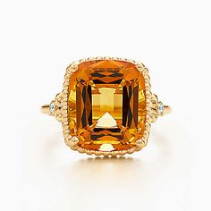 Tiffany Sparklers citrine ring in 18k gold with diamonds.