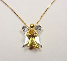 STERLING SILVER 18K VERMIEL ALOHA SILVER & GOLD GUARDIAN ANGEL PENDANT NECKLACE